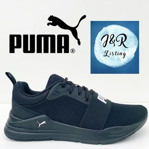 Puma Womens Wired Run Black Sneaker Shoes Size 7.5